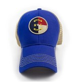 S.L. Revival Co. NC Local, Circle Flag Trucker Hat, Structured, Royal Blue