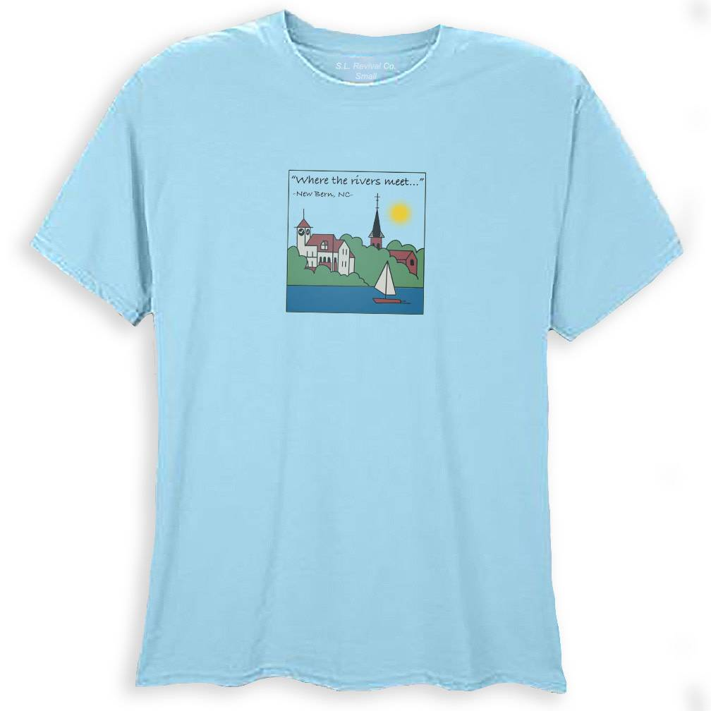 Surf, Wind and Fire New Bern Skyline Women's Tee, Carolina Blue