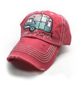 Trailer Trash Love Happy Camper Hat, Pink