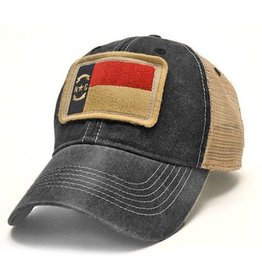 S.L. Revival Co. NC State Flag Trucker Hat, Black