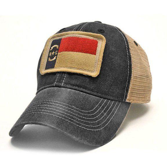 S.L. Revival Co. North Carolina State Flag Patch Trucker Hat, Black
