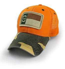 S.L. Revival Co. NC Flag Trucker Hat, Structured, Blaze Orange