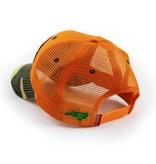 S.L. Revival Co. North Carolina Flag Trucker Hat, Structured, Blaze Orange