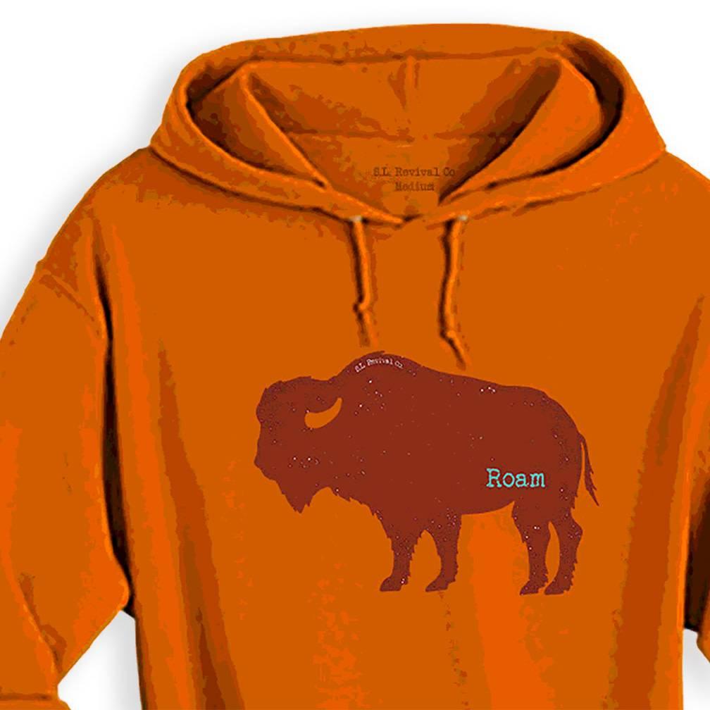 S.L. Revival Co. Wild Things Buffalo Roam Hoodie, Sunset Orange