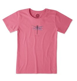 Life is Good W Crusher Tee Beautiful Dragonfly, Fiesta Pink