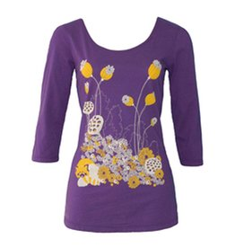 Blue Platypus 3/4 Sleeve Red Panda Print, Purple