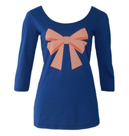 3/4 Sleeve w/Stripey Bow, Navy