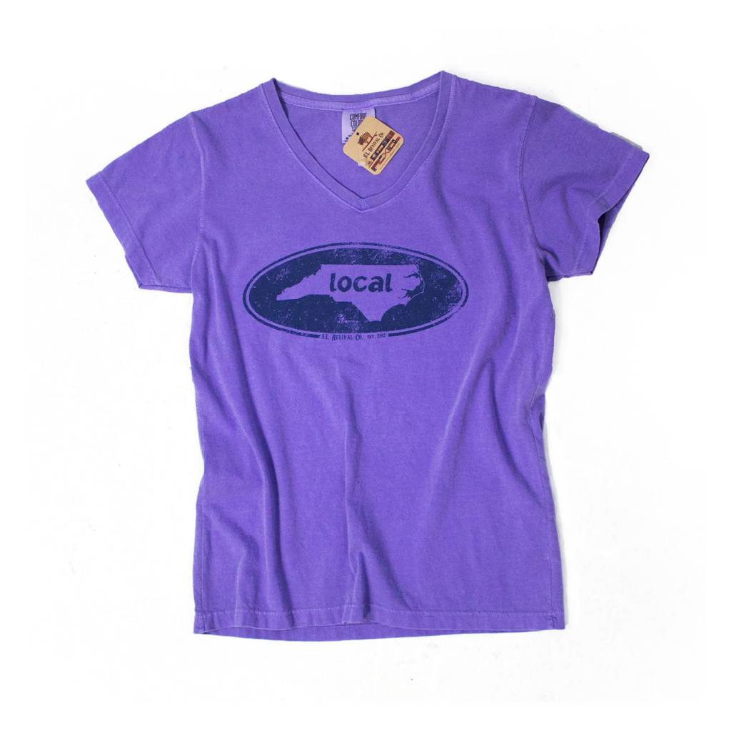 S.L. Revival Co. North Carolina Women's Local Oval V-Neck S/S, Violet