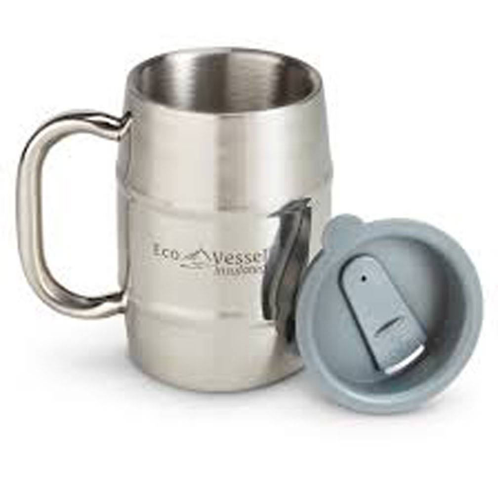 Ecovessel Double Barrel 16oz Mug, Silver Express