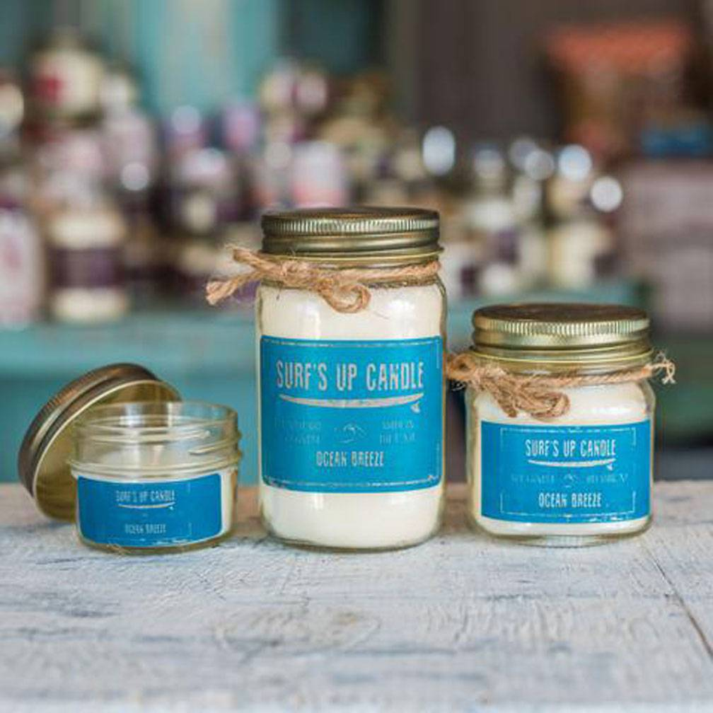 Surf's Up Candle Ocean Breeze Mason Jar Candle, 16oz