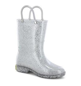 Western Chief Kid's Glitter PVC Rain Boot, Silver