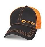 Neon Trucker Black Twill with Neon Orange Stitching Offset Logo