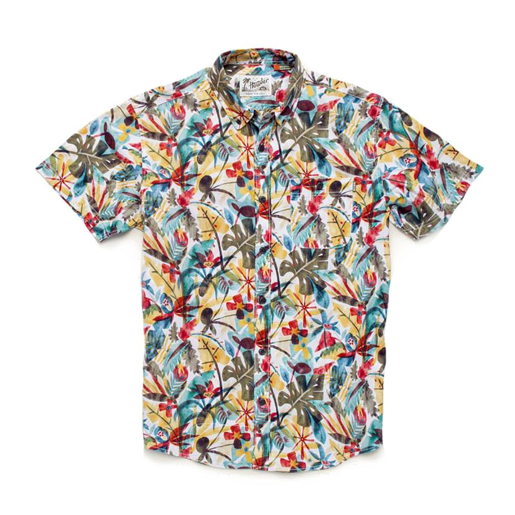 Howler Brothers Men's Mansfield Shirt, Cloud Forest Print: Stone