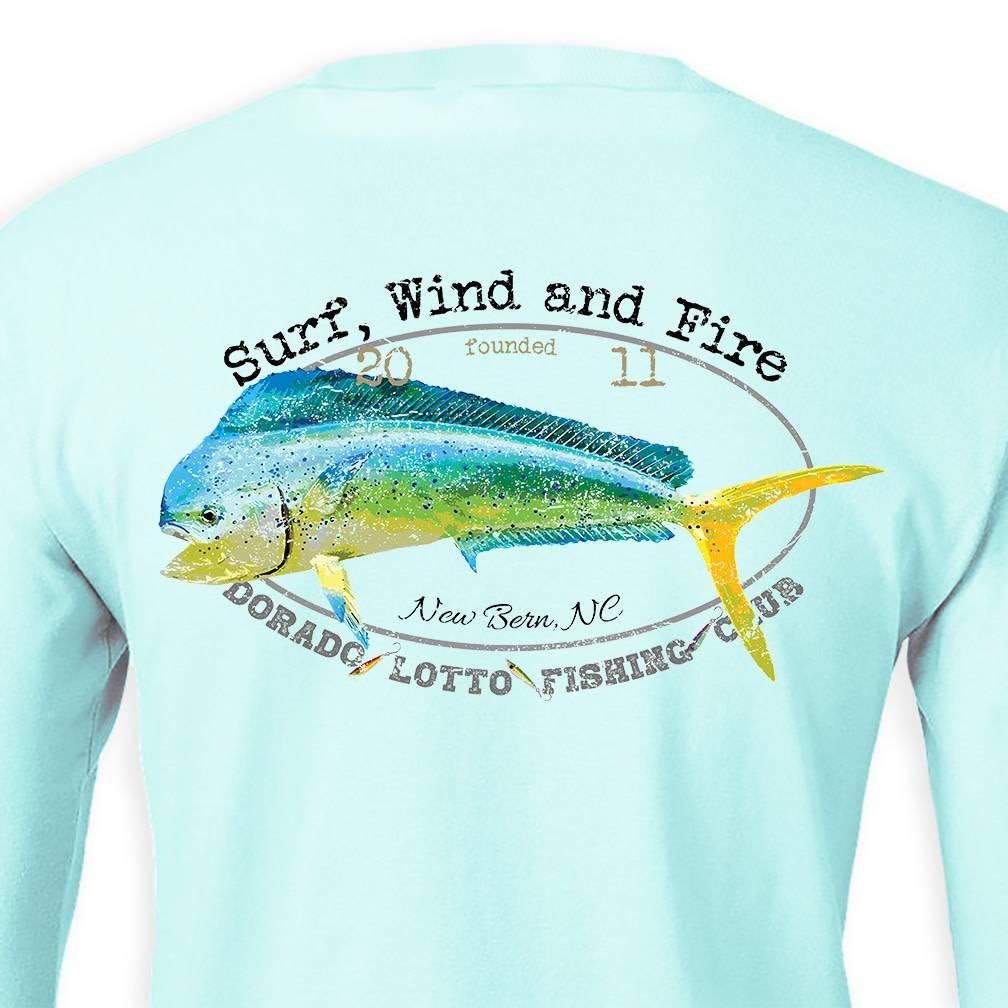 Surf, Wind and Fire Dorado Lotto Mahi Fish Club, L/S, UPF 50, Teal