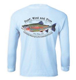Surf, Wind and Fire Caddis Rainbow Trout Fish Club, L/S, UPF 50, Light Blue
