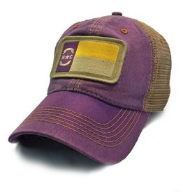 S.L. Revival Co. NC State Flag Trucker Hat, Purple with Gold Stitch ECU
