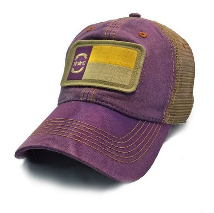 S.L. Revival Co. NC Flag Trucker Hat, Purple with Gold Stitch ECU
