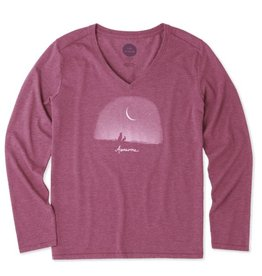 Life is Good Women's Cool Vee Awesome Universe Long Sleeve, Wild Cherry
