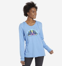 Life is Good Women's Hooded Smooth Namaste Breathe Deep, Powder Blue