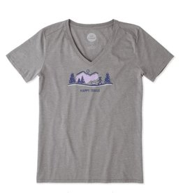 Life is Good Women's  Cool Vee Happy Trails Vista Short Sleeve, Slate Gray