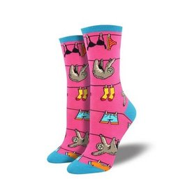 Socksmith Sloth on a Line Socks, Pink