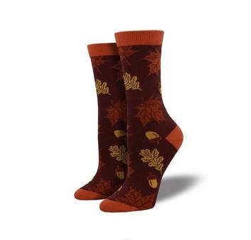 Socksmith Bamboo Autumn Leaves Socks, Auburn