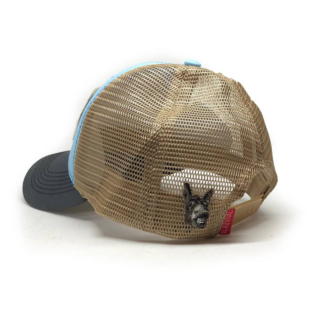 S.L. Revival Co. Surfing Jackass Structured Trucker, Sky Blue and Charcoal