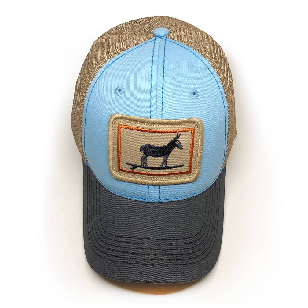 S.L. Revival Co. Everyday Trucker Hat, Structured, Surfing Jackass, Sky Blue and Charcoal