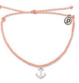 Puravida Pura Vida Silver Anchor Charm Bracelet, Salmon
