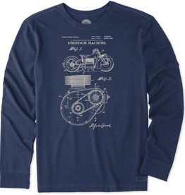 Life is Good Life is Good Men's Crusher Long Sleeve Tee, Freedom Machine Blueprint, Dust Blue