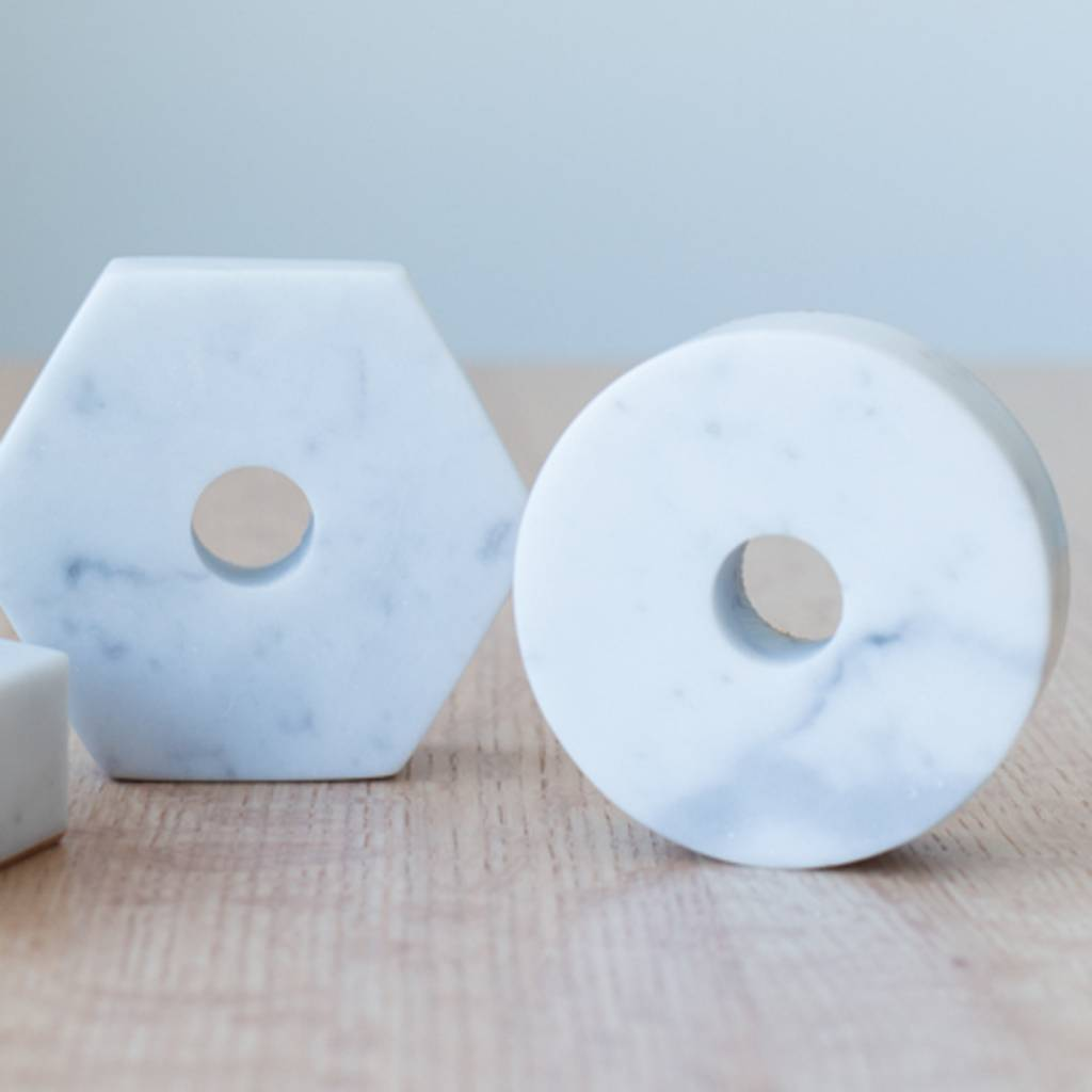 Fort Standard Carrera Marble Circle Candle Holder with Leather Backing