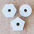 Fort Standard Carrera Marble Hexagon Candle Holder with Leather Backing