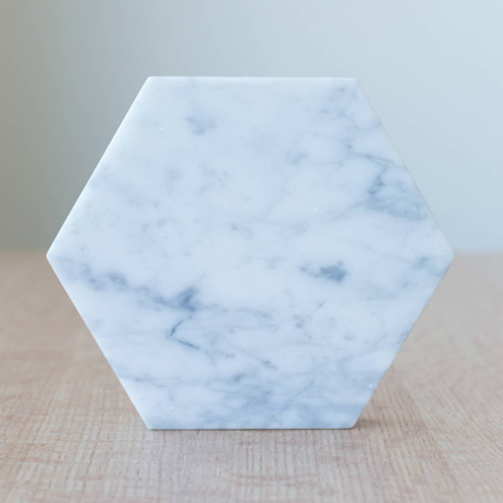 Fort Standard Carrera Marble Hexagon Trivet with Leather Backing