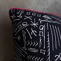 "electra eggleston Cairo Limestone 22"" Pillow with Red Twill Piping (12"" repeat)"