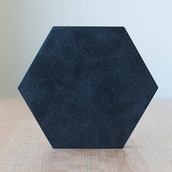 Fort Standard Black Granite Hexagon Trivet with Leather Backing