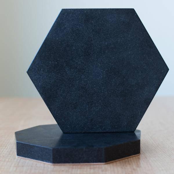 Fort Standard Black Granite Hexagon Trivet with Leather Backing