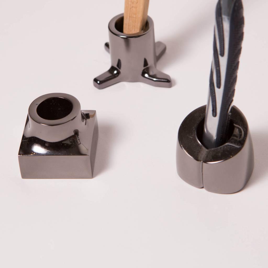 Kontextur Viktor Toothbrush/Razor Holder, set of 3, Black Nickel