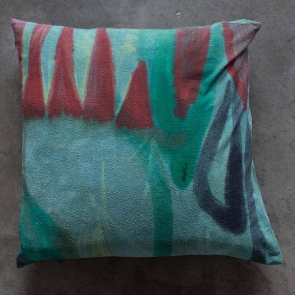 Fort Makers Hand Painted Square Pillow, green/red/yellow