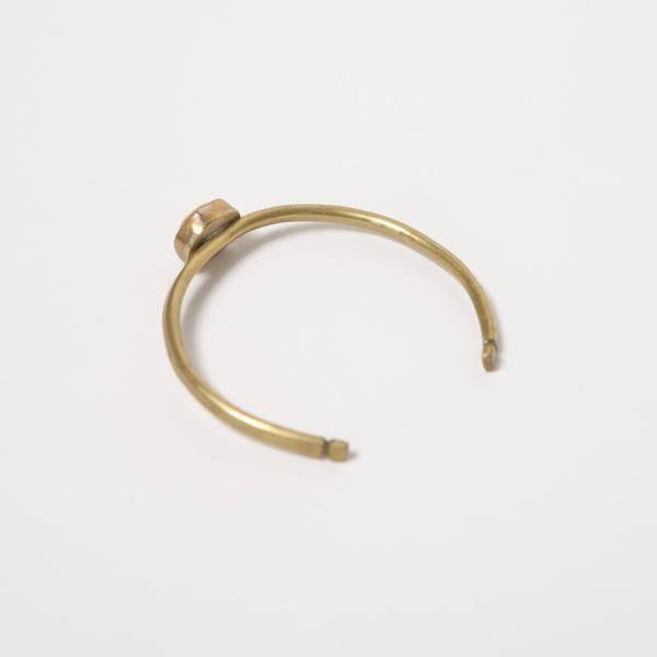 Drew Martin Hammered Brass Stone Cuff