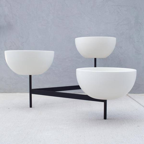 Modernica Case Study Bowls with Metal Tri-Stand, Medium White