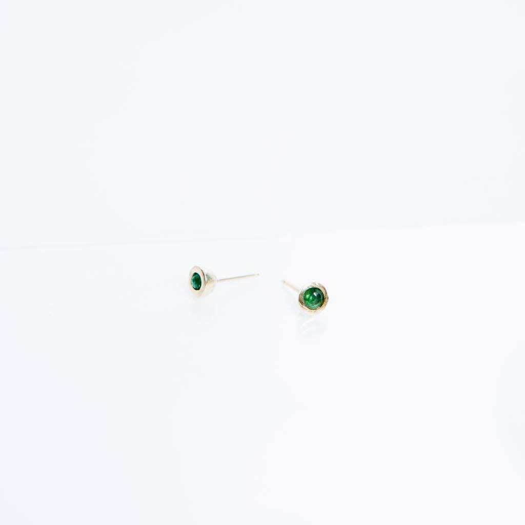 Kathryn Bentley Fine Jewelry Tiny Dot Studs, Emerald