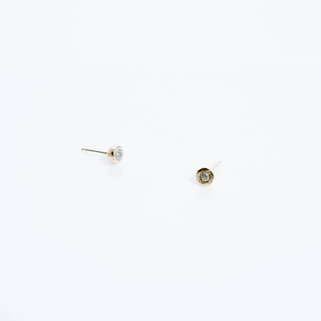 Kathryn Bentley Fine Jewelry Tiny Dot Studs, Rustic Diamond