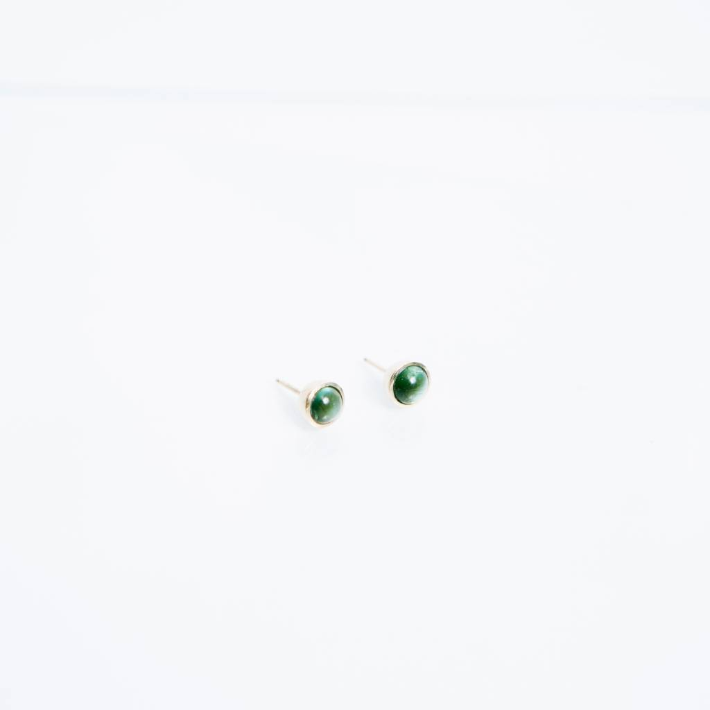 Kathryn Bentley Fine Jewelry Dot Studs, Tourmaline Cabochon