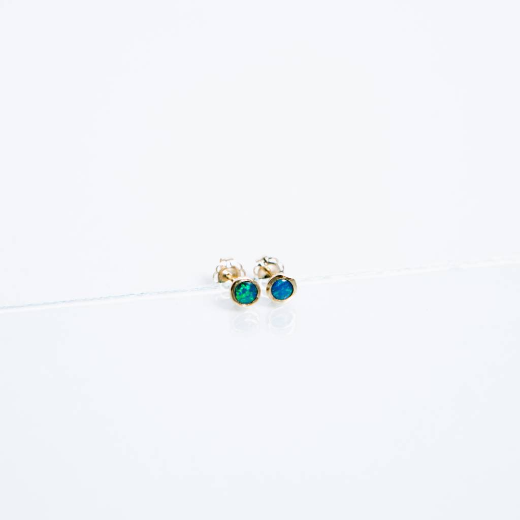 Kathryn Bentley Fine Jewelry Tiny Dot Studs, Opal