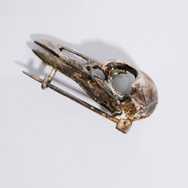 Alice Waese Silver Bird Skull Pin
