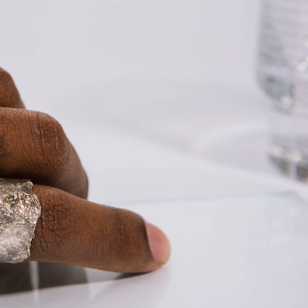 Alice Waese Silver Cut Bark Ring, Size 9