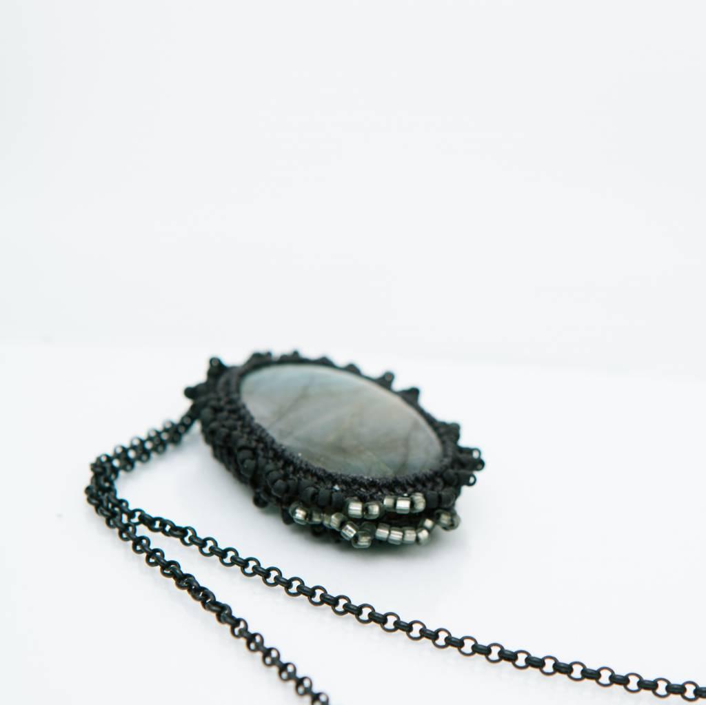 Jacki Holland Labradorite Necklace w Pewter Detail