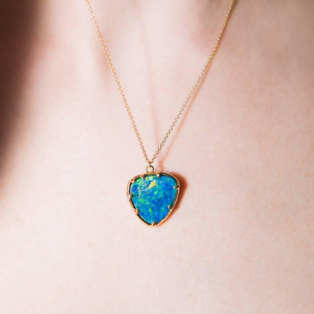 Kathryn Bentley Fine Jewelry Blue Opal Organic Amulet