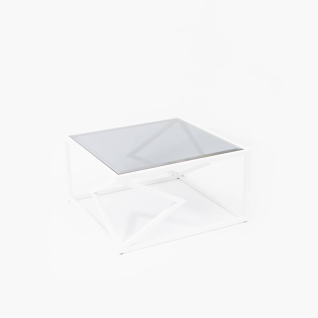 Alex Drew & No One Two Diamonds Cocktail Table, White Powder Coated Steel & Smoked Glass