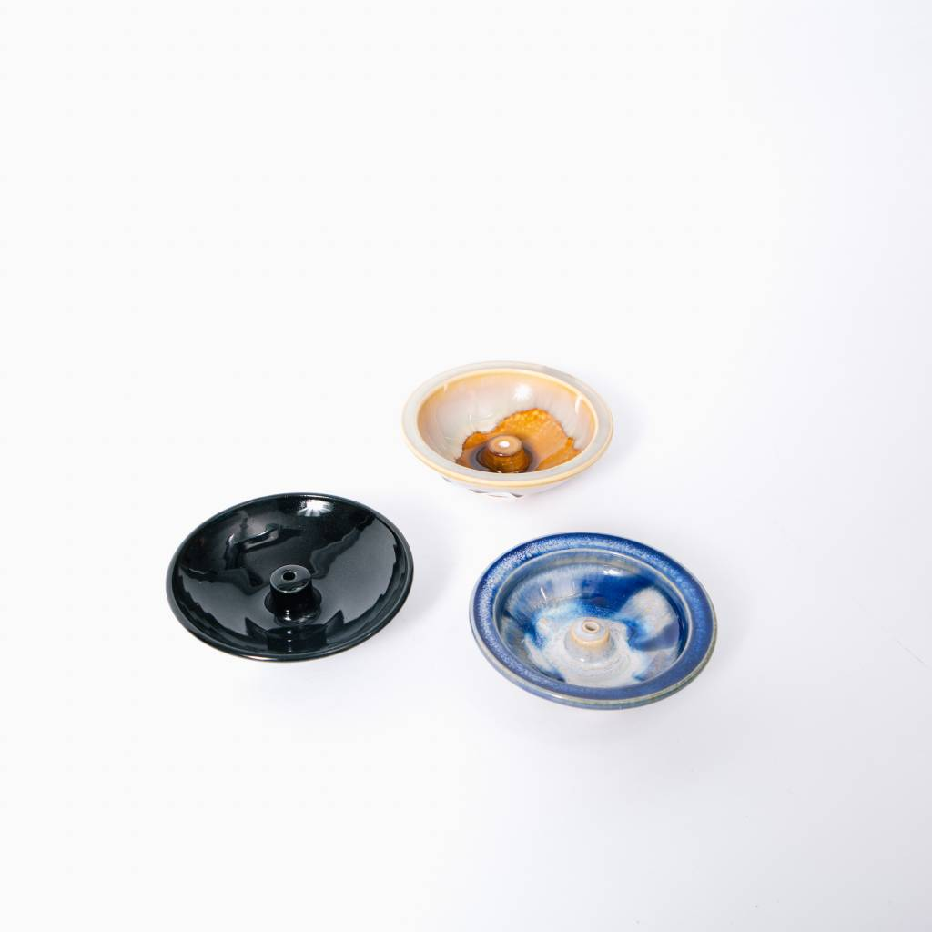 Shoyeido Ceramic Wheel Incense Burner, Obsidian
